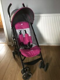 Joie pink and grey stroller