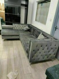 🔵💖SUPER SALE🔵💖Florence sofa-plush velvet left/right hand corner sofa-in grey color