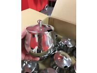 Stainless steel sugar bowls x15