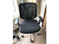Office chair, on wheels, with mesh back. Great for the home office.