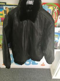 Brown genuine leather jacket