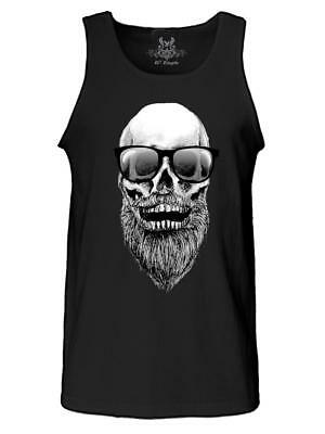NW MENS PRINTED SKULL w BEARD SUNGLASSES CLASSIC VINTAGE ORIGINAL ART TANK TOP
