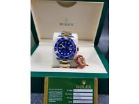 ROLEX SUBMARINER BI METAL WITH BLUE FACE AND BLUE BEZEL