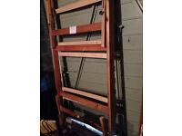 Single Bed with under pullout bed wood with black metal - REDUCED IN PRICE