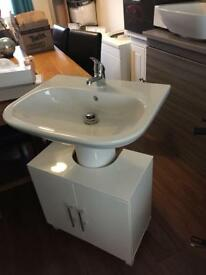 Complete pedestal , basin , taps and under counter unit brand new
