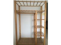 Wooden rail and shelving unit