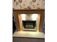 Oak fire surround with lighting