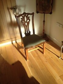 8 Dining room chairs for sale dark mahogany wood and padded seats. Can sell these in separate lots .