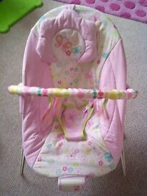 Girls baby bouncer chair and toy bar