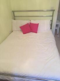 *****SOLD***** Silver Metal Double Bed Frame