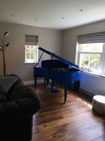 Up-Cycled Gloss Dark Blue Baby Grand Piano.