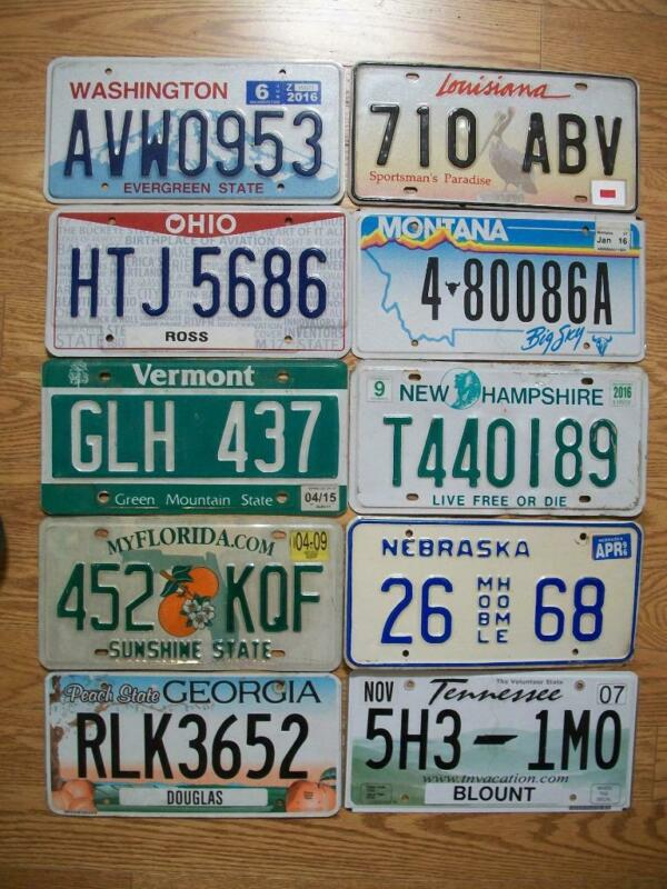 LOT OF 10 MIXED STATE LICENSE PLATES - 1996 - 2016  - 10 different states