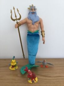 DISNEY STORE DOLL KING TRITON WITH SEBASTIAN, FLOUNDER AND SCUTTLE