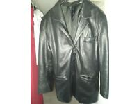 """Men's Real Leather Black jacket 3/4 chest 46"""""""