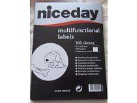 1 Pack Niceday Blank White Sticky Address Labels 15 labels per sheet 100 sheets per pack £1 per pack