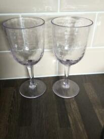 2 plastic wine glasses. VGC. Ideal for camping, caravanning & picnics. £1. Torquay or can post