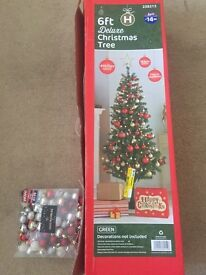 Preloved 6 Ft Christmas Tree and ornaments
