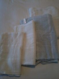 Four Mothercare Crib / Moses Basket Cellular Cotton Blankets