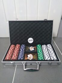 Almost new 300 piece poker chips with two card sets for GBP 7 collection only from near Heathrow
