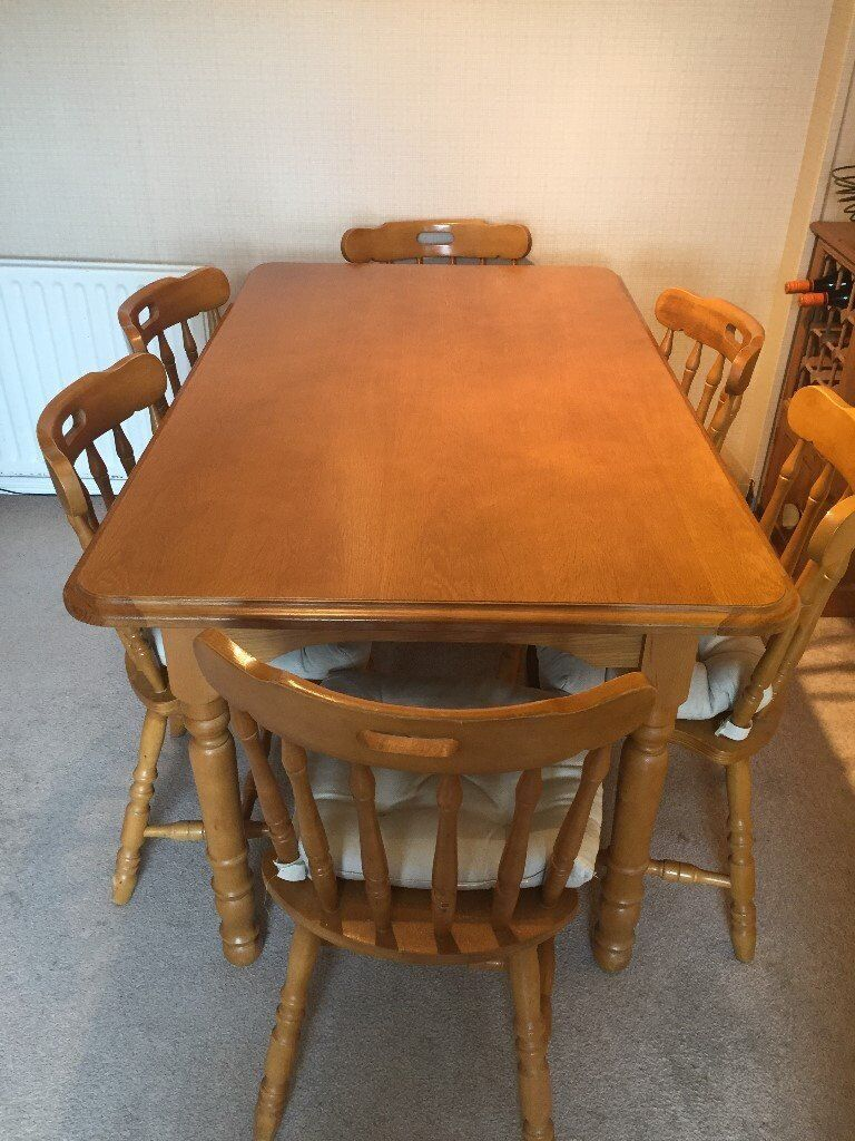 oak kitchen table and 6 dining chairs  in portrush