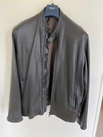 M & S Brown Leather Jacket : Large