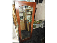 antique mahogany inlaid wardrobe door with arched bevelled glass mirror. 35x116cm