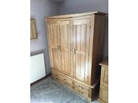 Solid oak wardrobe and matching drawers with mirror