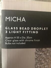 Glass bead droplet 3 light fitting