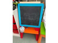 CHILDRENS WOODEN 4-IN-1 WHITEBOARD AND BLACKBOARD DOUBLE EASEL
