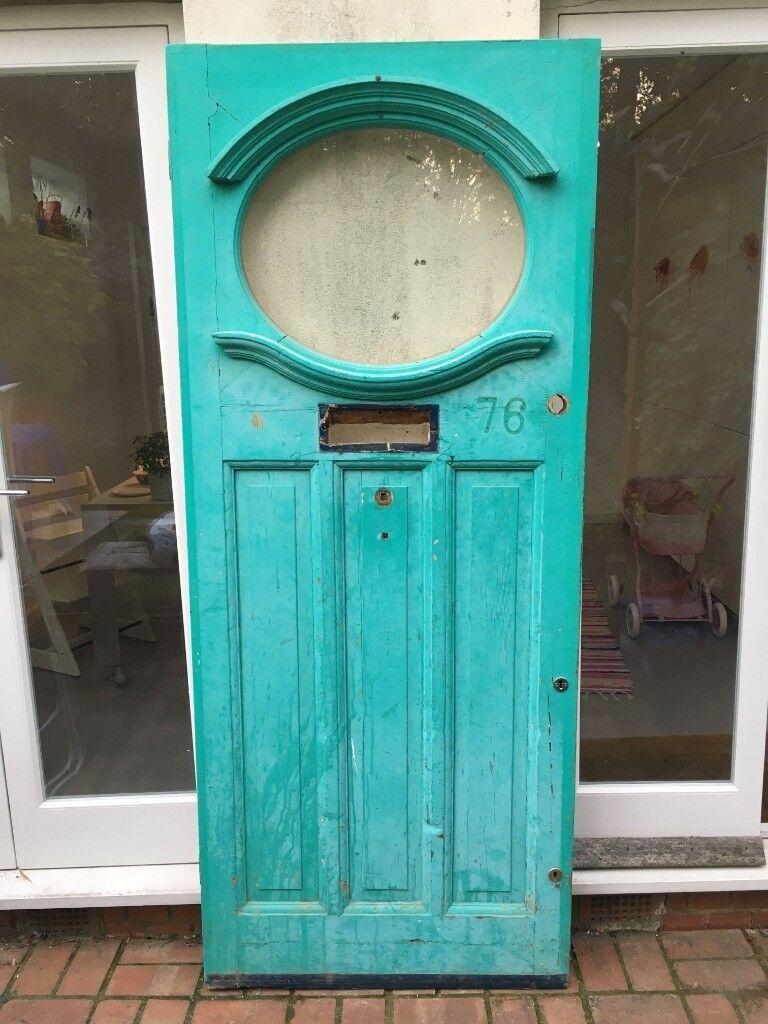1950s Front Door With Toughened Glass Elliptical Window In Hackney