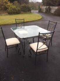 Metal framed table and chair set