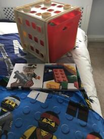 Lego single reversible bedding set with Two canvas pictures and Lego storage box.