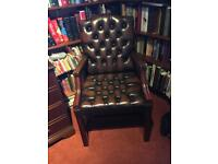 Leather Chesterfield carver chair