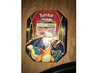 Pokemon charizard Tin with cards