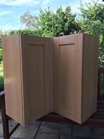 Howdens corner wall cupboard oak style