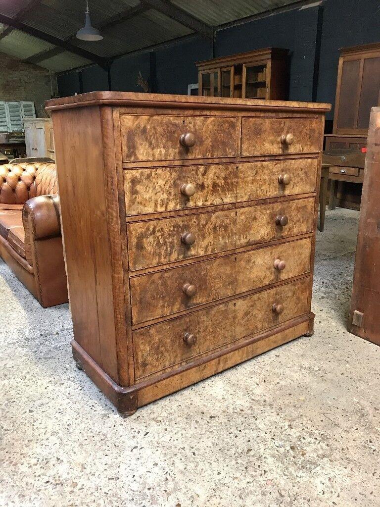 Stunning Victorian Antique Walnut Chest Of Drawers