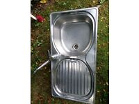 Franke 1.0 Bowl Stainless Steel Kitchen Sink 96x50cm with mixer tap