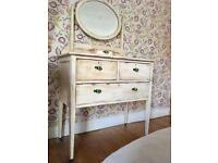Original Antique Dressing Table Chest of Drawers with Mirror