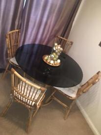 Wicker Glass Top Table + Chairs x4