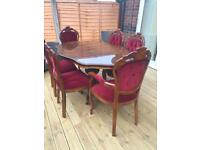 FRENCH LOUIS STYLE DINING TABLE AND SIX CHAIRS