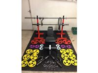 Home Gym, used; rack, bench, olympic bar, small bar, dumbell bars etc.