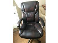 Leather Desk Chair adjustable height swivel rocker