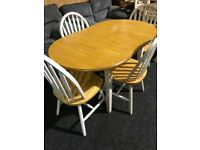 Small dining set -extending table new and dour chairs