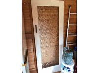 Glass panel mortise and tenon solid wooden door (2nd of 2 doors). Free.
