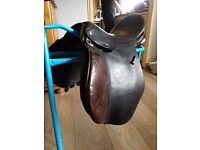 """lovely 16"""" havana english leather GP VSD saddle aberdeenshire horse pony"""