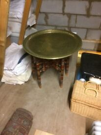 Vintage Brass topped folding Indian table
