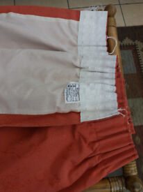 Large lined curtains, unused, terracotta cotton
