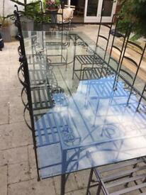 10 Person Metal and Glass dining set