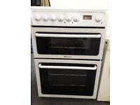 Hotpoint HAE60P 60cm Wide Slimline Ceramic Hob Fan Assisted double Oven Cooker 3 Mth Gtee