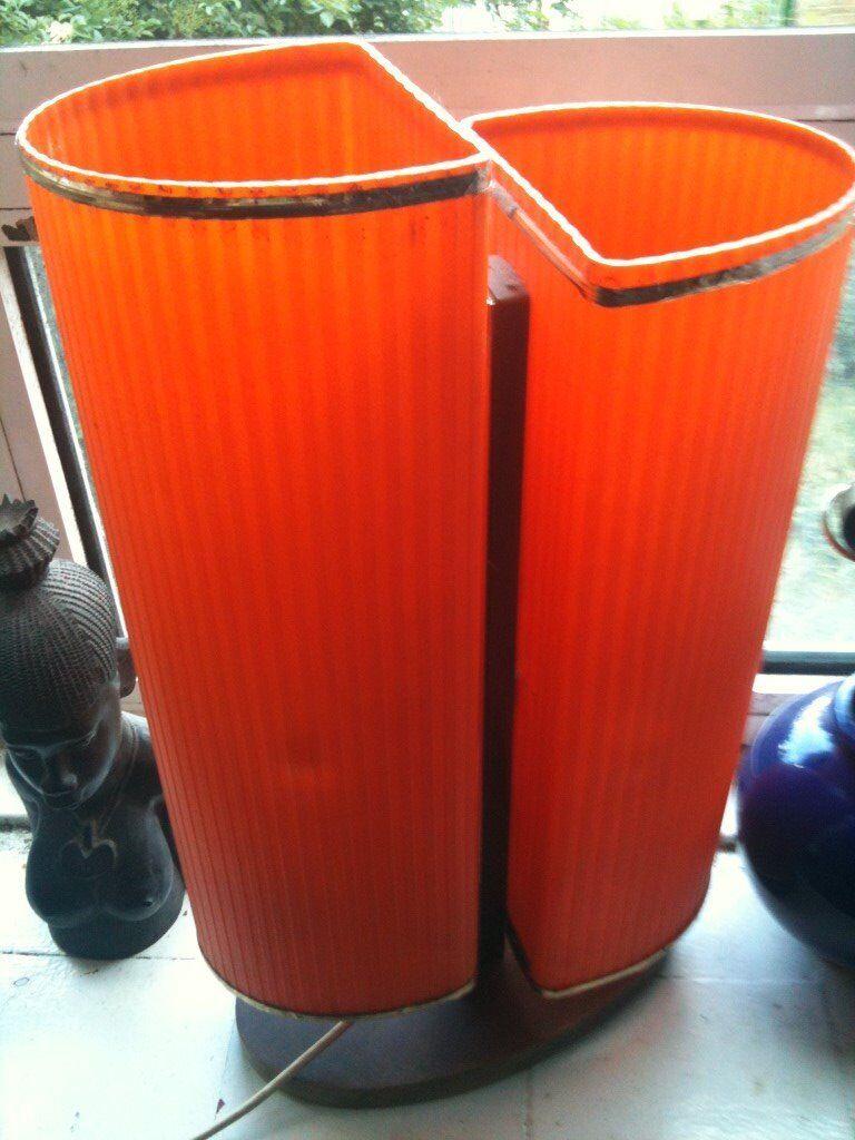 Vintage/Retro Twin 'Rocket' LAMP - Orange Fibreglass / Wood - Rare